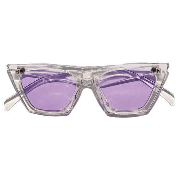 Accessories - Retro 60s Clear & Purple Lens Catfarer Sunglasses